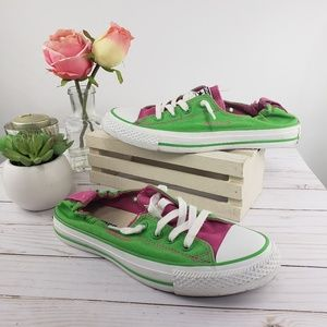 Converse Neon Lime & Pink 90s Low Cut Sneakers